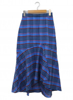 Diagram(ダイアグラム)の古着「チェックフレアマキシスカート」|ブルー×ホワイト