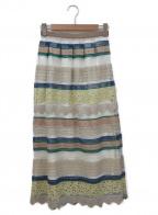 JILL STUART(ジルスチュアート)の古着「ロングスカート」|ホワイト×ベージュ