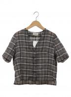 TODAYFUL(トゥデイフル)の古着「ノーカラーシャツ」 ブラウン×ホワイト