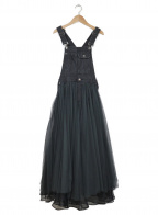 Belle vintage(ベル ビンテージ)の古着「ボリュームチュールオーガンジーデニムサロペット」 ブラック