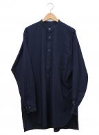 COMOLI(コモリ)の古着「ベタシャンバンドカラールーズシャツ」|ネイビー