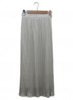 H BEAUTY&YOUTH(エイチ ビューティアンドユース)の古着「サテンプリーツスカート」|ダスティーメタルグリーン