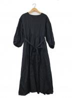 Mila Owen(ミラオーウェン)の古着「Vネック袖ボリューム麻紺OP」 ブラック