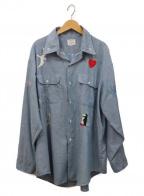 big mac(ビッグマック)の古着「モチーフ刺繍ビッグシャンブレーシャツ」|スカイブルー×マルチカラー
