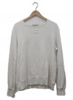 REMI RELIEF(レミレリーフ)の古着「ダメージクルーネックスウェット」|ホワイト