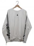LEGENDA(レジェンダ)の古着「Two Line Rose Embroidery Sweat」 ホワイト