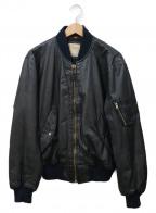 HOUSTON()の古着「カウレザーMA-1ジャケット」|ブラック
