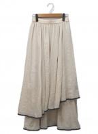 Lily Brown(リリーブラウン)の古着「裾パイピングシフォンスカート」 ベージュ×グレー