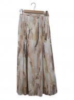 RAY BEAMS(レイ ビームス)の古着「シフォン プリント Aラインスカート」|ベージュ