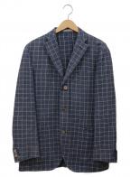BOGLIOLI()の古着「3Bリネンテーラードジャケット」|ネイビー×ホワイト