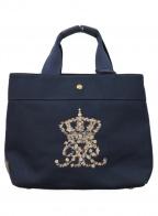 A.D.M.J.(エーディーエムジェイ)の古着「ロゴフラワー刺繍キャンバストートバッグ」|ネイビー