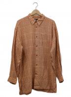 ISSEY MIYAKE MEN()の古着「オーバーコットンチェックシャツ」 オレンジ×ベージュ