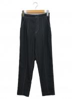 Ameri(アメリ)の古着「フェイクステッチパンツ」 ブラック×ホワイト