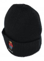 POLO RALPH LAUREN(ポロ・ラルフローレン)の古着「ベアー刺繍ニット帽」|ブラック×レッド