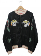 HOUSTON()の古着「スーベニアジャケット」|ブラック×アイボリー