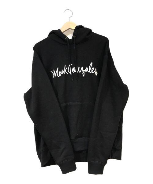 MARK GONZALES(マーク・ゴンザレス)MARK GONZALES (マーク・ゴンザレス) バックプリントプルオーバーパーカー ブラック×ホワイト サイズ:Lの古着・服飾アイテム
