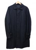 ()の古着「ストライプウールステンカラーコート」 ネイビー