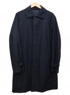 UNITED ARROWS(ユナイテッドアローズ)の古着「ストライプウールステンカラーコート」|ネイビー