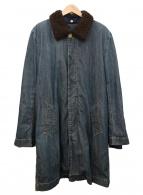 ()の古着「ボアライナー付ステンカラーコート」 インディゴ×ブラウン