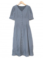 ()の古着「ボリュームスリーブチェックジャガードワンピース」|ブルー