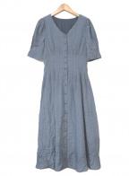 PROPORTION BODY DRESSING(プロポーションボディドレッシング)の古着「ボリュームスリーブチェックジャガードワンピース」|ブルー