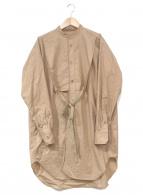 ()の古着「スーピマコットンスタンドカラーロングシャツ」|ベージュ
