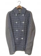 ()の古着「ギンガム切替ジャケット」|ブルー×グレー
