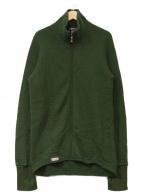 ()の古着「スタンドカラーニットジャケット」|グリーン