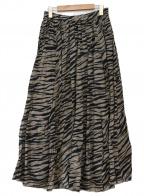 upper hights(アッパーハイツ)の古着「ゼブラプリーツロングスカート」|ベージュ×ブラック