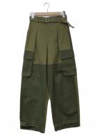 MAISON SPECIAL(メゾンスペシャル)の古着「パッチワークカーゴパンツ」|カーキ×グリーン