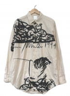 PAUL SMITH(ポールスミス)の古着「スパゲッティプリントシャツ」|アイボリー×ブラック
