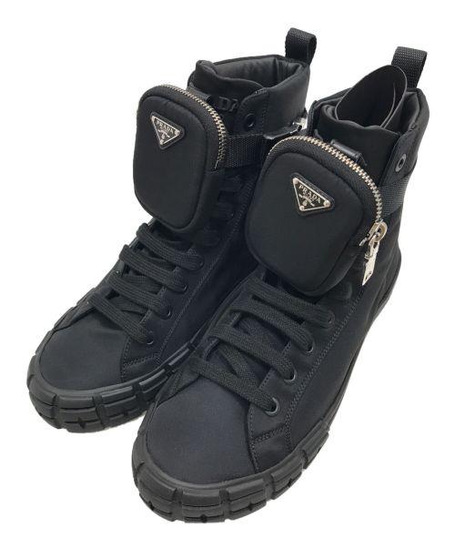 PRADA(プラダ)PRADA (プラダ) ハイカットスニーカー ブラック サイズ:8の古着・服飾アイテム