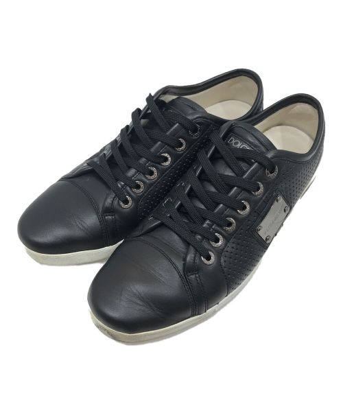 DOLCE & GABBANA(ドルチェ&ガッバーナ)DOLCE & GABBANA (ドルチェ&ガッバーナ) ローカットレザースニーカー ブラック サイズ:9の古着・服飾アイテム