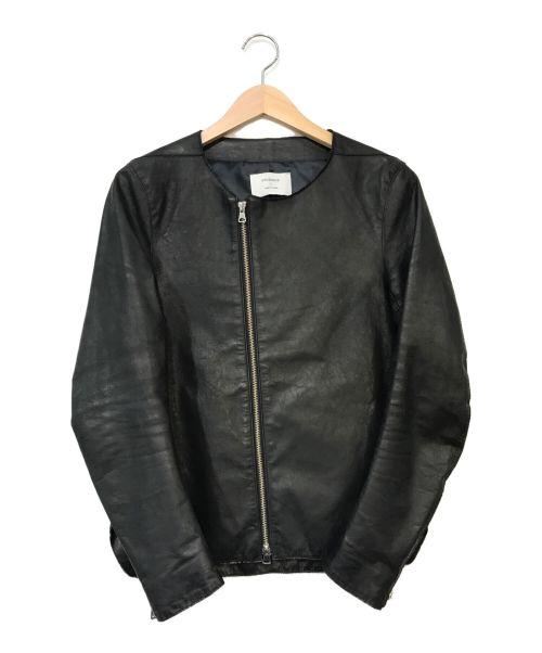 STUDIOUS(ステュディオス)STUDIOUS (ステュディオス) カウハイドシングルノーカラーブルゾン ブラック サイズ:1の古着・服飾アイテム