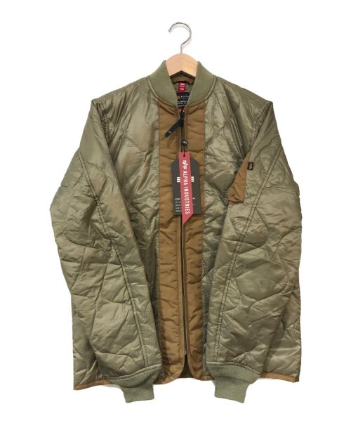 ALPHA(アルファ)ALPHA (アルファ) キルティングMA-1ジャケット カーキ サイズ:Sの古着・服飾アイテム