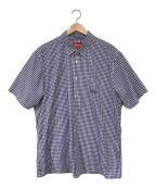 SUPREME()の古着「半袖ギンガムチェックシャツ」|ネイビー×ホワイト