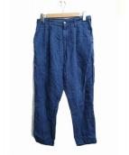 PORTER CLASSIC(ポータークラシック)の古着「ハンドワークリネンパンツ」 ブルー