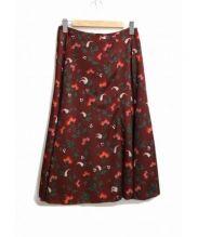 IENA(イエナ)の古着「フラワーモチーフスカート」|ワインレッド