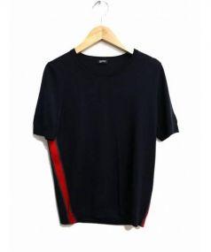 JIL SANDER NAVY(ジルサンダー ネイビー)の古着「シルク混半袖ニット」|ネイビー×レッド