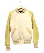 SKOOKUM(スクーカム)の古着「袖レザー切替スタジャン」|イエロー×ホワイト