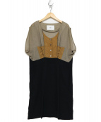 MAR ENTERPRISE(メーア エンタープライズ)の古着「ノースリーブワンピース」|ベージュ×ブラック