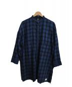 FTMJNS(ファクトタムジーンズ)の古着「ノーカラーロングチェックシャツ」