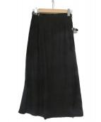ONEIL OF DUBLIN(オニール オブ ダブリン)の古着「ソリッドリネンロングキルトスカート」|ブラック