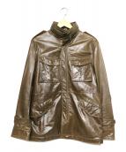 TAKEO KIKUCHI(タケオキクチ)の古着「カウレザージャケット」|ブラウン