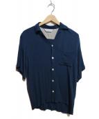 NIPOALOHA(二ポアロハ)の古着「チリメンレーヨンオープンカラーシャツ」|ネイビー