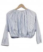 Laventure(ラヴァチュール)の古着「ギャザーブラウス」|ネイビー×ホワイト