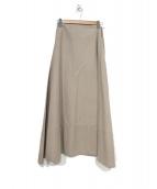 MADISON BLUE(マディソンブルー)の古着「バックサテンマキシフレアスカート」|ベージュ