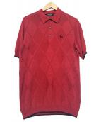 BLACK LABEL CRESTBRIDGE(ブラックレーベルクレストブリッジ)の古着「ニットポロシャツ」|レッド