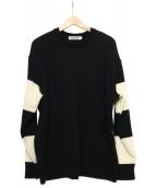 cootie(クーティ)の古着「Sleeve Border Knit Sweater」 ブラック×ホワイト