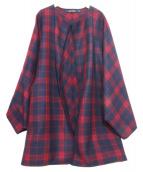 SOFIE DHOORE(ソフィードール)の古着「ノーカラーコート」|レッド×ネイビー
